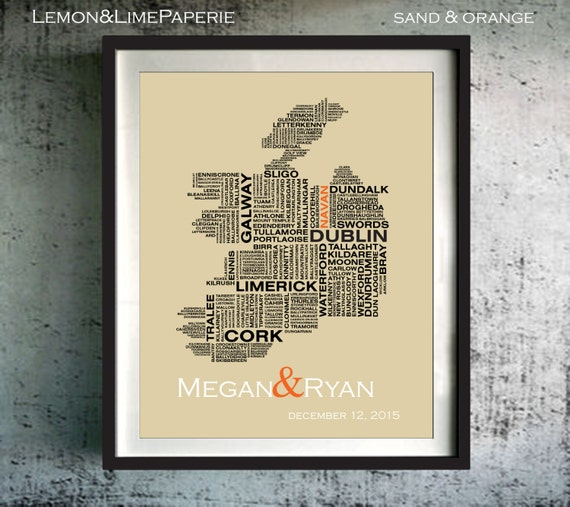 Ireland Typography Map Republic Of Ireland Art Print Ireland Etsy