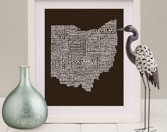 Ohio Typography Map Print, Ohio Art Print, Ohio Wall Art, Ohio Typographic Map, Custom Ohio Map, Ohio Poster, Ohio Unique Gift, Ohio Decor