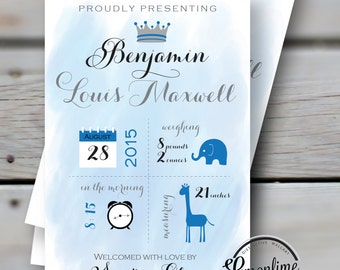 Custom Birth Card Custom Newborn Card Baby Announcement Custom Birth Card New Baby Card Newborn Announcement Thank you Birth Card Boy Card