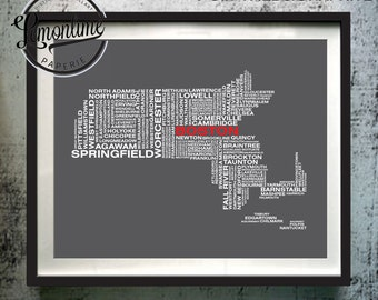 Massachusetts Typography Map Print, Massachusetts Art Print, Massachusetts Wall Art, Massachusetts Typographic Map, Massachusetts Poster