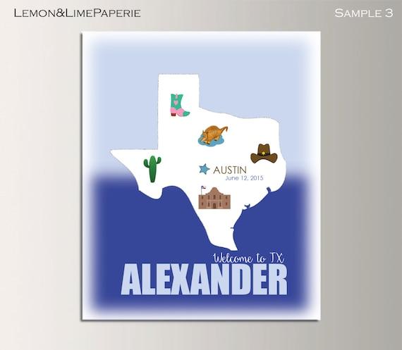 Printable Map Of Texas For Kids.Texas Birth Map Print Texas Map Art Print Kids Room Map Wall Etsy