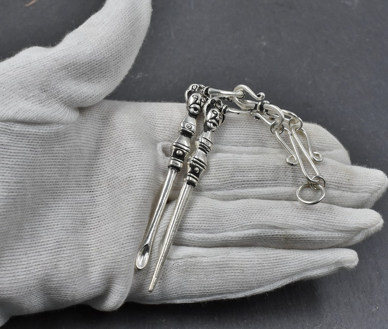 Norse brooch chain Gotland Hygiene Set Viking toilets set made of silver plated bronze