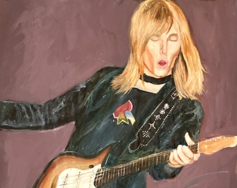 """Tom Petty, 1970s, part of """"40 Years A Heartbreaker"""" series, giclee print on real sheet of canvas, 8.25""""x11.25"""""""
