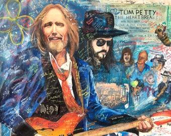 """Half Of Me is Ocean; Half Of Me Is Sky, Tom Petty mobile mural print, 8.25""""x11.25"""""""