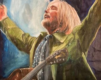 "Tom Petty portrait 2000s, part of ""40 Years A Heartbreaker"" series, print on canvas sheet, 8.25""x11.25"""