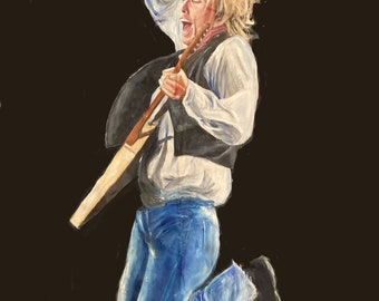 """Tom Petty, 1980s, part of """"40 Years A Heartbreaker"""" series, giclee print on real sheet of canvas, 8.25""""x11.25"""""""