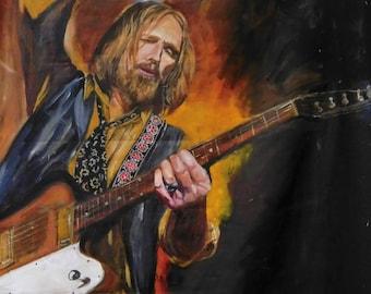 "Tom Petty, 2010s, giclee print on canvas sheet, 8.25""x11.25"""