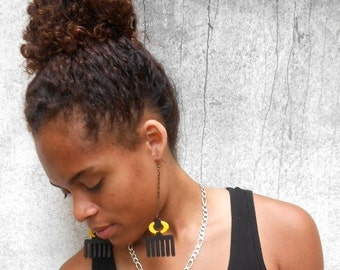Duafe (chain) // Adinkra // Afrocentric // Natural Wood Hand Painted // African and Caribbean Inspired Jewelry