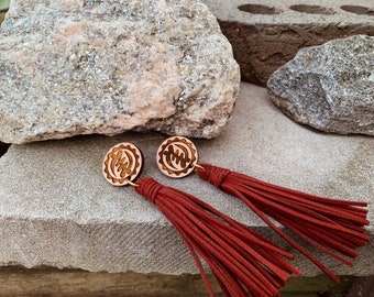 Red Long Adinkra Tassels // Afrocentric // Natural Wood // African and Caribbean Inspired Jewelry