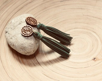 Green Long Adinkra Tassels // Afrocentric // Natural Wood // African and Caribbean Inspired Jewelry