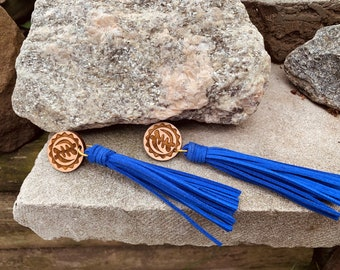 Royal Blue Long Adinkra Tassels // Afrocentric // Natural Wood // African and Caribbean Inspired Jewelry
