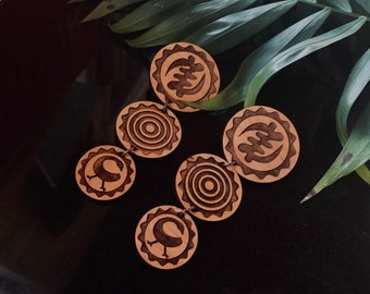 Adinkras Ascending II // Afrocentric // Natural Wood Earrings // African and Caribbean Inspired Jewelry