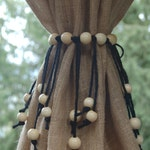 Curtain tie back jute rope with jumbo wooden beads ~ small, medium or large sizes available Brown, red, green, black, white. Made to order