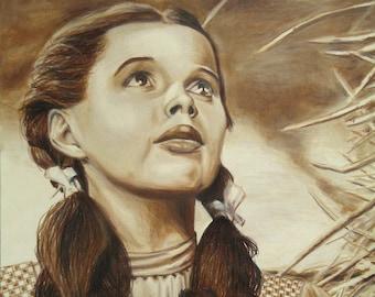 Dorothy Gale - Judy Garland - Original Wizard of Oz art - Colored pencil artwork - Rustic decor, Original artwork, Dorothy art, Dorothy gift