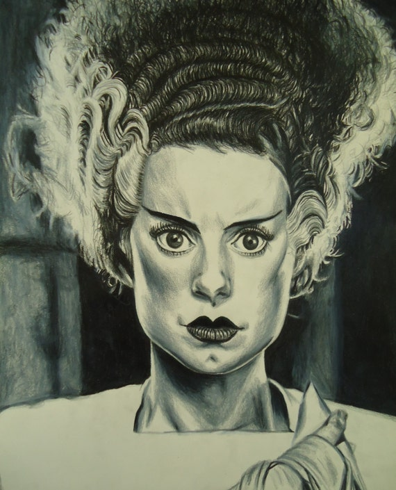 Original Painting Drawing Charcoal Art One of a Kind Handmade Bride Frankenstein