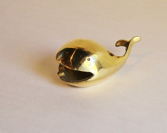 Vintage  Small Brass Whale Storage Ashtray