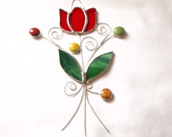 Stained Glass Red Tulip Suncatcher
