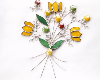Stained Glass Tulip Spring Bouquet Suncatcher