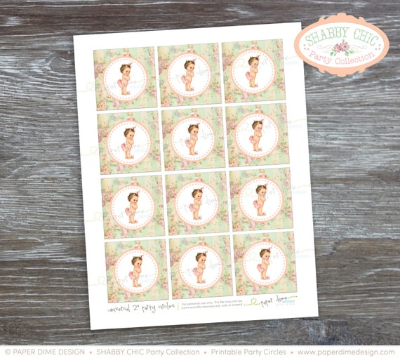 labels Vintage Printable 2 inch party circles PDF File INSTANT DOWNLOAD It/'s a girl tag tags stickers Shabby Chic baby shower