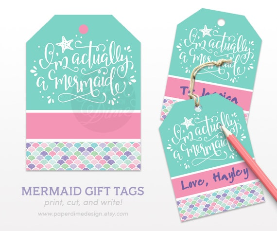 Mermaid Gift Tags Birthday Present Favor Beach Girls