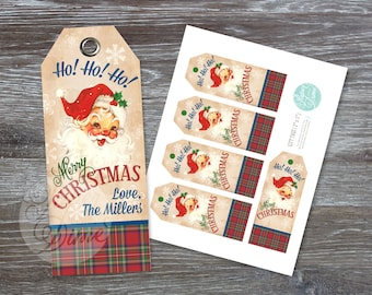 INSTANT DOWNLOAD Editable and printable Vintage Christmas Santa Gift Tags | red, green plaid tartan |Type your own text and print