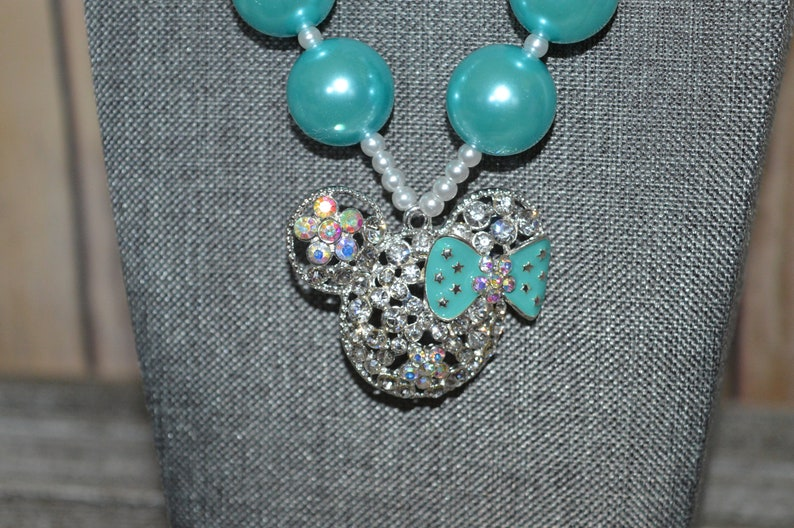 Mint and Silver Minnie Mouse Necklace