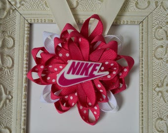Pink and White Nike Bow