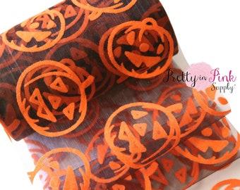 "5"" Black Organza Large Orange Velvet Jack O Lantern Tulle - Tulle by the yard- Sheer Tulle- Craft Supply- Netting-Fabric 5"" Wide"