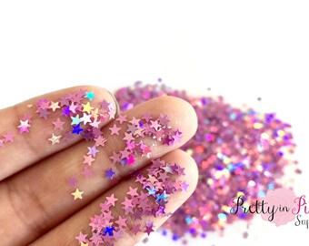 Pink Lilac Holographic Star Loose Glitter- 1 oz - Craft Glitter- Nail Art Glitter- Slime Glitter- Tumbler Glitter- Fine Glitter- Sparkle