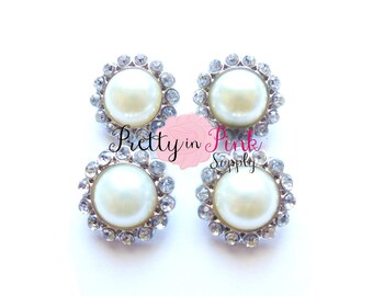 IVORY Rhinestone Pearl Button- Pearl Center Button- Button- DIY Craft  Supply- Baby Headband Supplies- DIY Headband- Embellishment ad1ffc4092ba