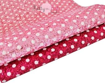 Chunky POLKA DOT Glitter Sheet CANVAS Sheets- Fabric Sheet-Fabric Sheet Fabric-D.I.Y Hair Bows 1mm Thick