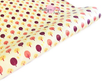 Fall Trees Faux Leather Sheet- Floral Fabric Sheet-A4 or A5 vinyl Fabric Material-DIY Hair Bows 1mm Thick