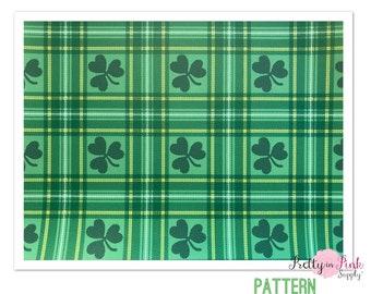 Pattern HTV- Green St Patrick's Plaid- Heat Transfer Vinyl Sheet- Heat Transfer Sheets