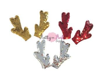 """Reversible SEQUIN  Padded Reindeer ANLTERS 2""""x4""""- Christmas Diy Supply- Ornament Craft- Santa Reindeer- Diy Craft Supply"""