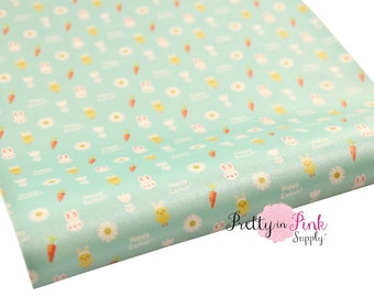 Happy Easter Soft Faux Leather Fabric Sheet- Floral Fabric Sheet-A4 or A5 vinyl Fabric Material-DIY Hair Bows 1mm Thick