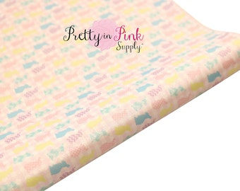 Pastel Bunny Patterns Soft Faux Leather Fabric Sheet- Floral Fabric Sheet-A4 or A5 vinyl Fabric Material-DIY Hair Bows 1mm Thick