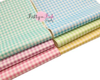 Spring Plaids Soft Faux Leather Fabric Sheet- Floral Fabric Sheet-A4 or A5 vinyl Fabric Material-DIY Hair Bows 1mm Thick