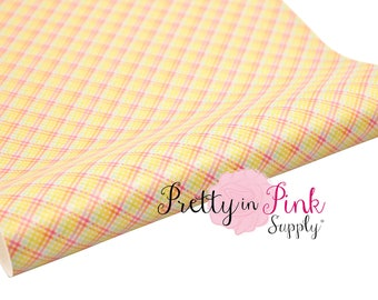 Easter Plaid Soft Faux Leather Fabric Sheet- Floral Fabric Sheet-A4 or A5 vinyl Fabric Material-DIY Hair Bows 1mm Thick