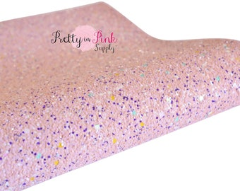 Light Pink Multi Colored Chunky Glitter Fabric Sheet- Glitter Fabric Sheet-A4 or A5 Glitter Fabric Canvas-DIY Hair Bows 1mm Thick