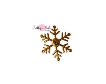 Metallic Gold Snowflake- Christmas- Cupcake Topper- Pretty in Pink Supply