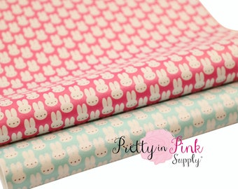 Little Bunny Soft Faux Leather Fabric Sheet- Floral Fabric Sheet-A4 or A5 vinyl Fabric Material-DIY Hair Bows 1mm Thick