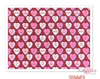 Glitter Pattern HTV- Conversation Hearts- Heat Transfer Vinyl Sheet- Heat Transfer Sheets
