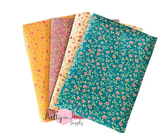Country Floral Faux Leather Sheets- Fabric Sheets -Metallic Foil Fabric Sheet-A4 or A5 Leather Fabric Material-DIY Hair Bows 1mm Thick