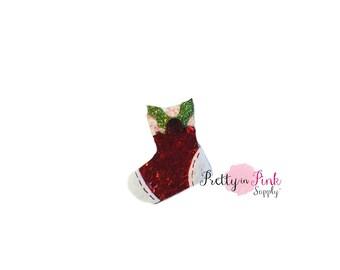 """1"""" Christmas Stocking- Glitter Felt- Supply- Christmas DIY Supply- Felt Glitter Craft- Santa Reindeer- DIY Craft Supply"""