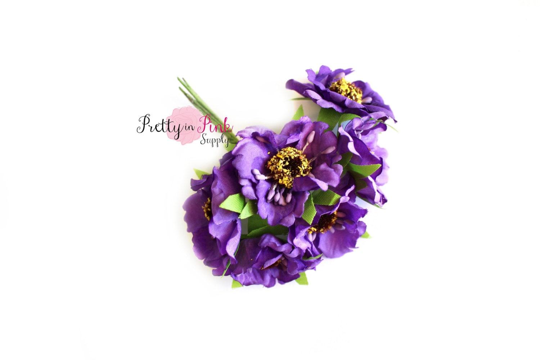 15 purple wild flowers wire stem flowers floral crown etsy zoom mightylinksfo
