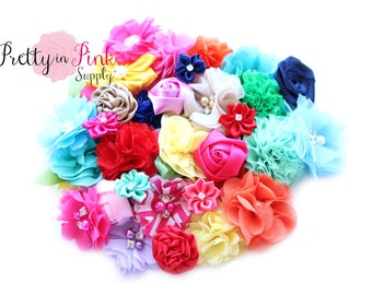 "GRAB BAG - Assorted Single Flower Grab Bag Sizes Ranging .5"" to 2.5"" - You Choose Quantity - We Choose Colors and Flowers"