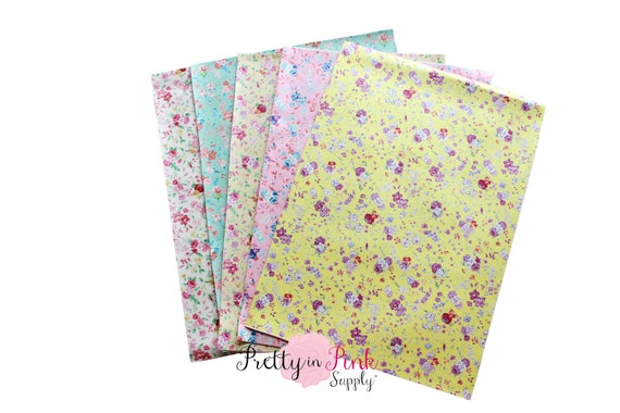 Floral Soft Faux Vinyl Fabric Sheets -Metallic Foil Fabric Sheet-A4 or A5  Leather Fabric Material-DIY Hair Bows 1mm Thick