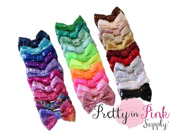 """Large 4"""" Sequin Bows NEW- You Choose Quantity and Colors - DIY Bow Supply..Sequin Bow ...Large Bows...Bows...Wholesale...Big Bow..Sequin Bow"""
