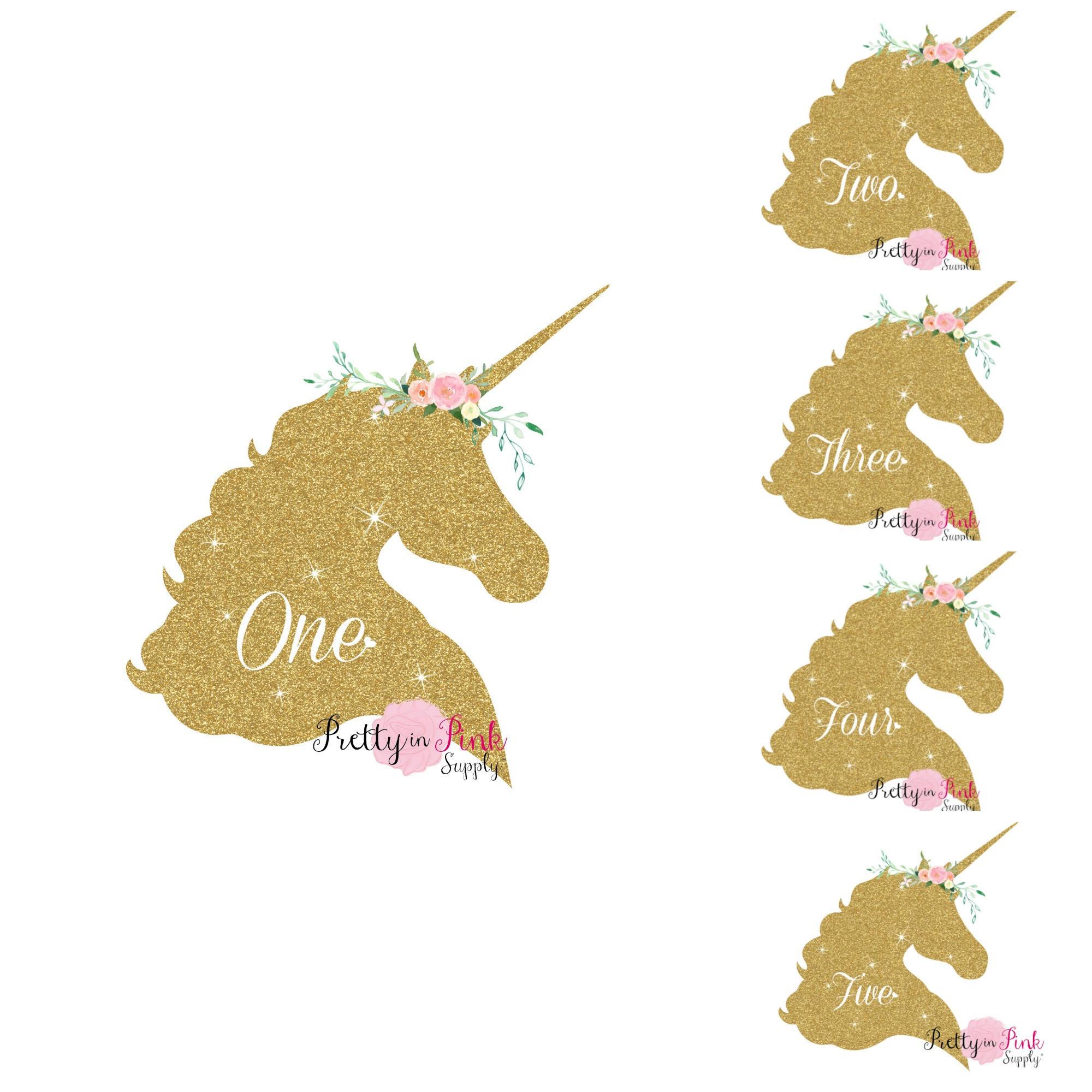 Vinyl Glitter Iron On Gold Unicorn Age Decal-DIY Iron On