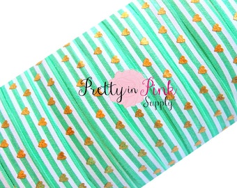 Mint, White Stripe Gold Metallic Heart Print - Fold Over Elastic- Foe- Elastic by the Yard - 5/8""